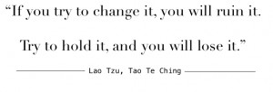 This quote is exactly what Taoism is about; not trying to control ...
