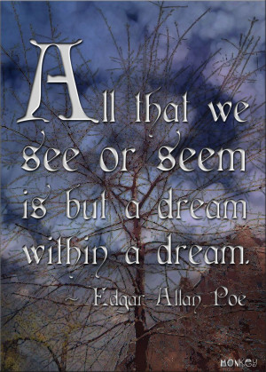... see or seem is but a dream within a dream. -- Edgar Allan Poe #Quote