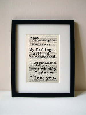 Pride And Prejudice - Mr Darcy - Book Quote Print - Romantic Quote ...