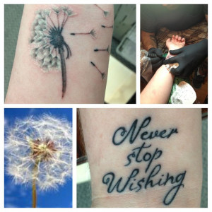 Dandelion Tattoos On Foot With Quotes Dandelion wrist tattoo
