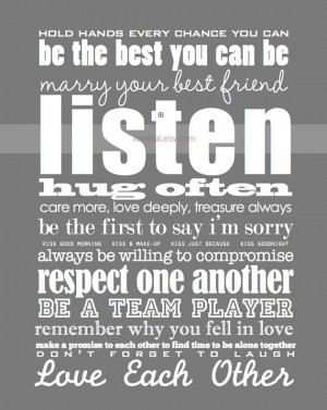 Marriage Quote Wall Art . Wedding Anniversary Rules of Modern Romantic ...