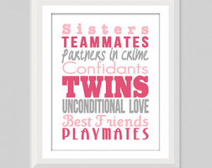 Twin Girl Nursery Art, Twin Sisters Print, Twin Nursery Decor, Twin ...