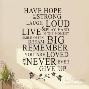 Wholesale Wall Stickers – Buy Wall-038Asmall Black Have Hope Quote