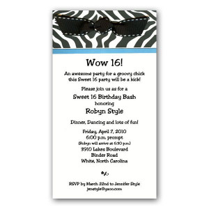 Zebra Print with Ribbon Sweet 16 Invitations - 19-E5R-29-SS