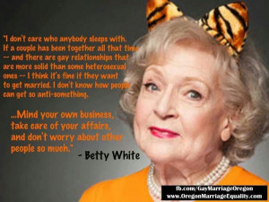 Good old Betty White! Right on Betty!