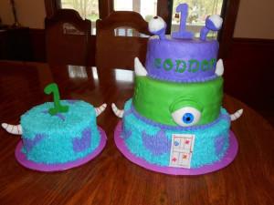 Monsters Inc cake and smash cake