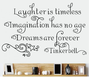 Laughter is timeless decal vinyl Fairy Quote Wall Decal tinkerbell ...