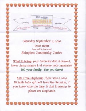 family reunion invitation wording