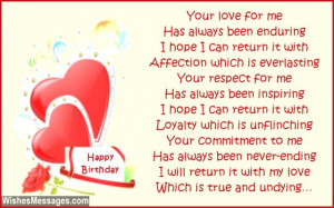 Sweet happy birthday poem to wife from husband