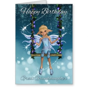 Great Granddaughter Happy Birthday cute fairy Greeting Card