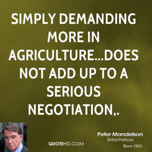 Simply demanding more in agriculture...does not add up to a serious ...