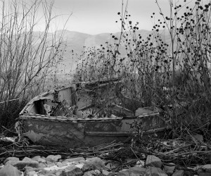 Old Boat Black and White