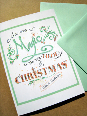 Magic Christmas Card. Christmas Quote Card. Typography. Hand Lettering ...
