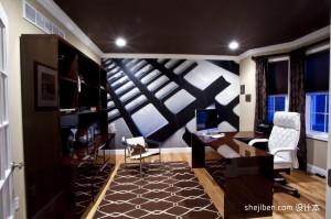 2013现代风格最新经典创意书房艺术背景墙装修效果图