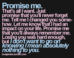 Promise me that you will never forget me