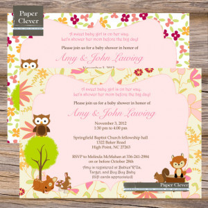 Girls Baby Shower invitation woodland animals, pink floral digital ...