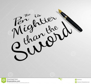 Stock Photo: The Pen is Mightier than the Sword