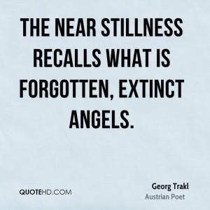 The near stillness recalls what is forgotten, extinct angels.
