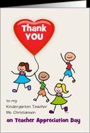 Kindergarten Teacher Appreciation Day Thank You Kids Custom card ...