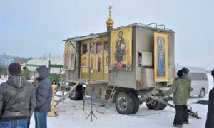 Church-in-a-box … A Russian military Orthodox chapel. Photographs ...