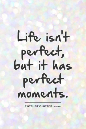 Life isn't perfect, but it has perfect moments Picture Quote #1