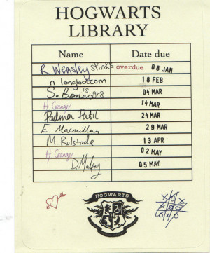 Hogwarts library date due card