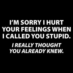 sorry I hurt your feelings when I called you stupid . I really ...