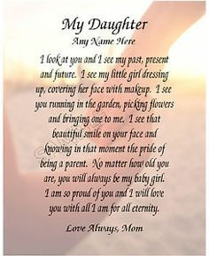 Birthday Poems to My Daughter   Details about MY DAUGHTER PERSONALIZED ...