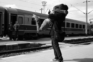 Train station hug