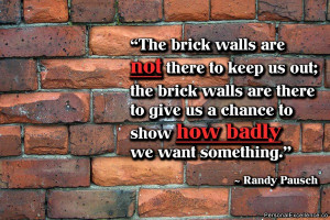 life every one of us will face a brick wall. Some of these walls ...