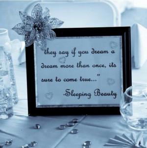 Framed Disney love quotes for wedding centre pieces!