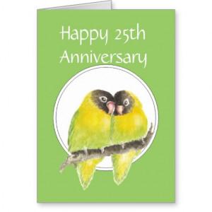 25th Wedding Anniversary, Funny, Lovebirds Greeting Card