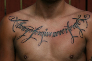 Cool Chest Quotes Tattoo Design for Men