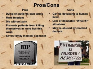 euthanasia pro cons essay Euthanasia pros and cons euthanasia: the intentional killing by act or omission of a dependent human being for his or her alleged benefit (if death is not intended.