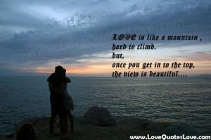 love is like a mountain
