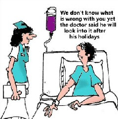 As a doctor was examining his patient, he asked,
