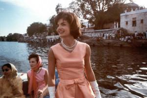 Mrs. Kennedy on a boat cruise on Lake Pichola, Udaipur, India, 17 ...