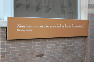 neat Gandhi quote at the historical Greyhound Bus Station in ...