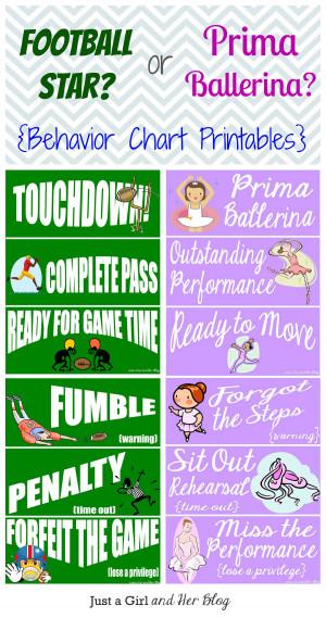Football Star or Prima Ballerina? {Behavior Chart Printables}