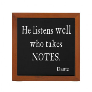 Vintage Dante Quotes Listen Well Take Notes Quote Pencil Holder