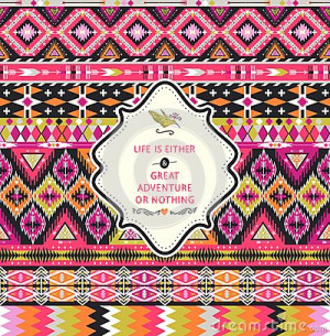 ... aztec pattern with geometric elements and quotes typographic text