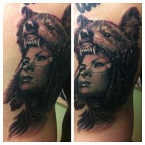 Native Girl with wolf headdress.Tattoo Ideas, Wolf Headdress, Quotes ...