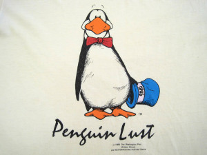 about PENGUIN LUST!! 1984 vintage OPUS BLOOM COUNTY T SHIRT small