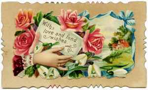 Victorian calling card, vintage ephemera, old fashioned card, floral ...
