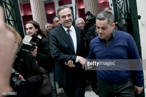 greek prime minister antonis samaras delivers his statement to the