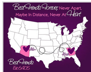 Long Distance: Personalized Map Gift For Sister Bestfriend Cousin ...