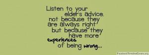 Listen to your elder's advice