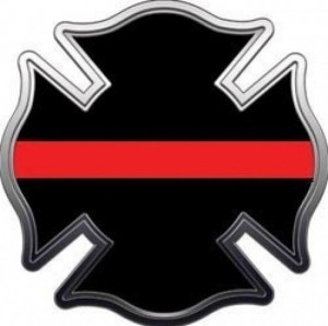 MALTESE CROSS THIN RED LINE DECAL FIREFIGHTER REFLECTIVE DECAL