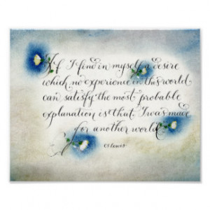 CS Lewis Inspirational quote Another world Poster