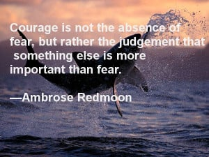 Courage is not the absence of fear, but rather the judgement that ...